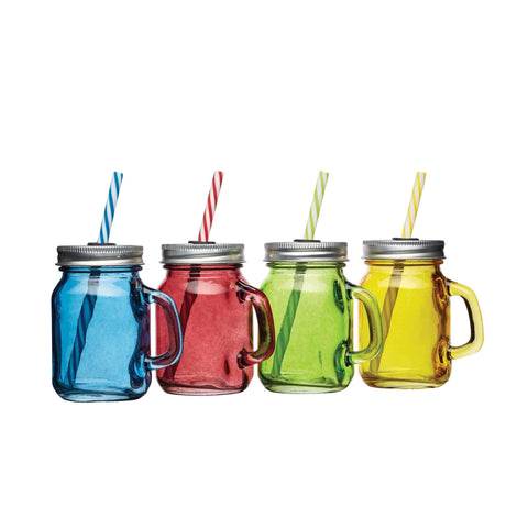 Mini Drink Glass Jars With Straws