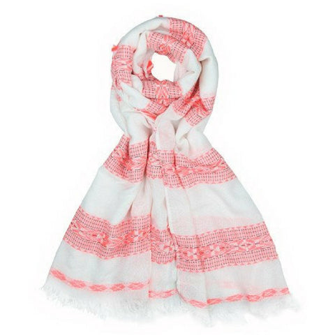 White And Pink Striped Scarf