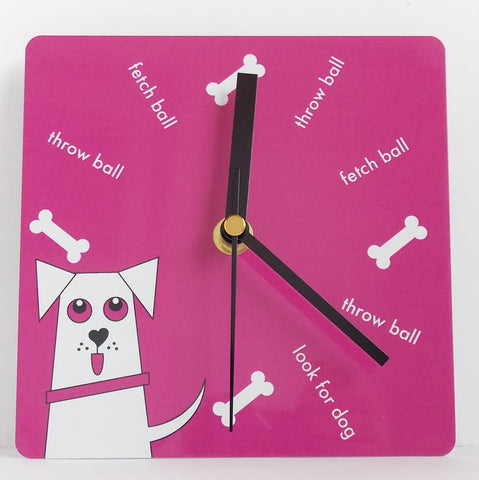 BANKO DOG CLOCK IN PINK