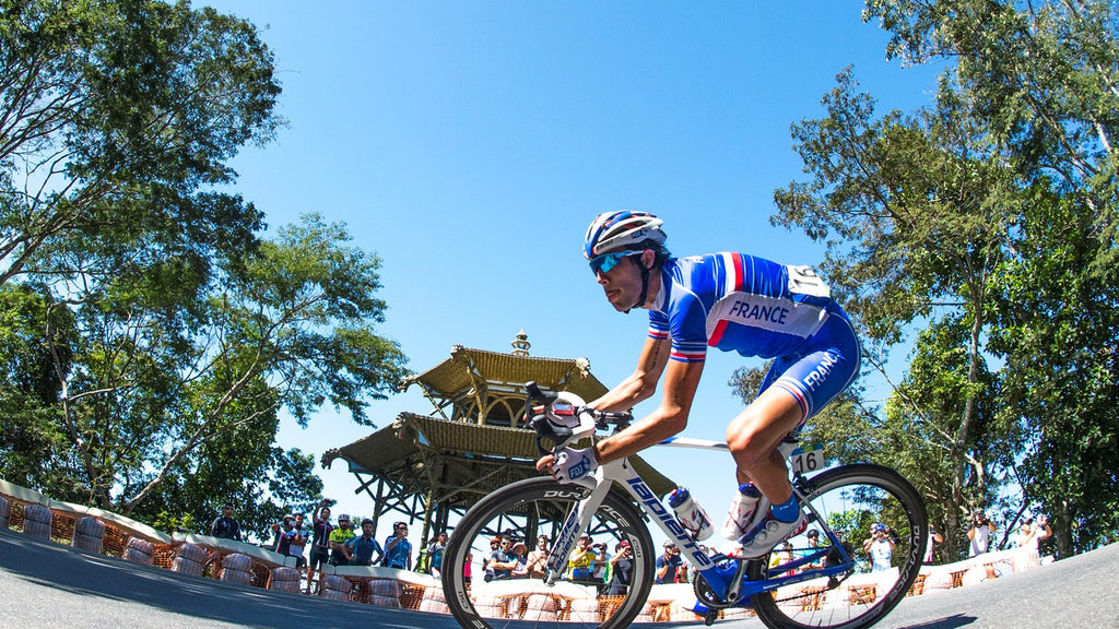 Romain Bardet at Olympic test event, Vista Chinesa climb