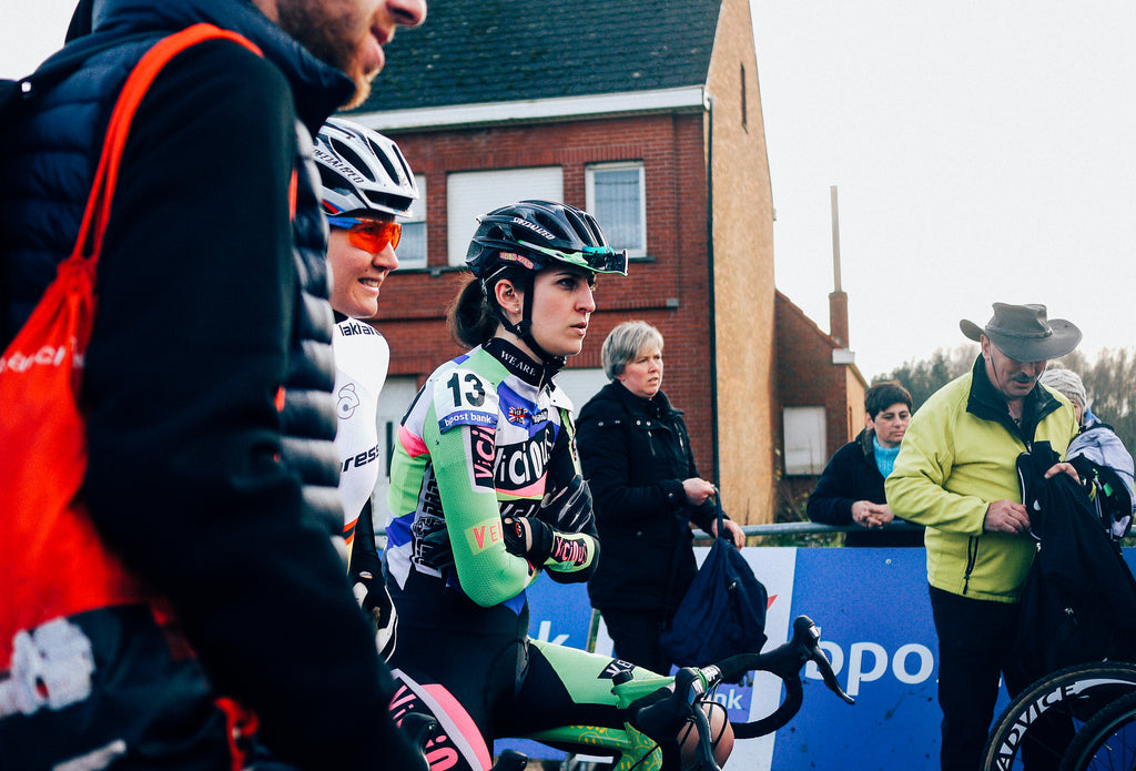 Claire Beaumont on the start line of the GP Sven Nys