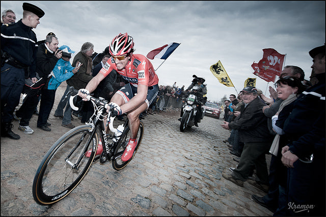 Fabian Cancellara winning Paris-Roubaix