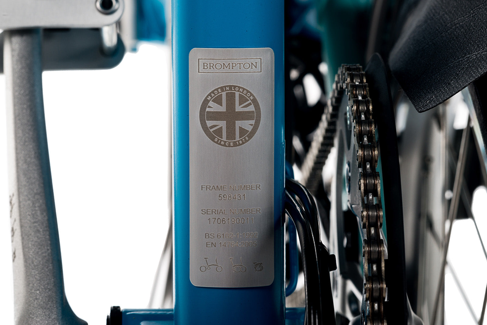 Brompton ID plate is found on the back of the seat tube