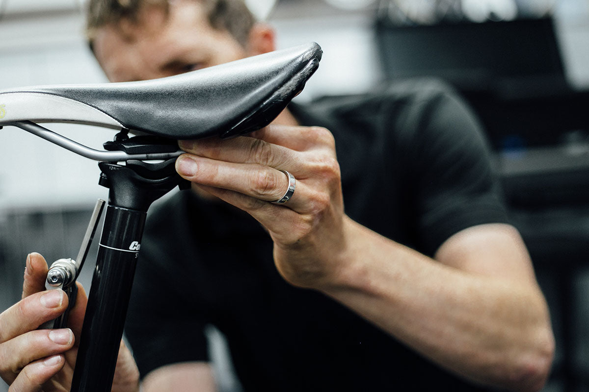 Setting the saddle rail position during a bike fit
