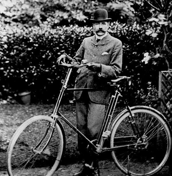 Sir Edward Elgar with bicycle