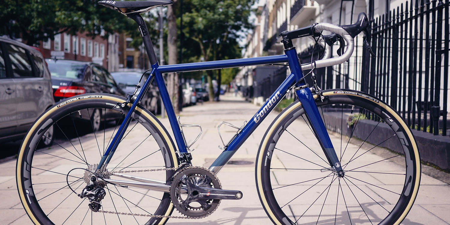 Acciaio Stainless finished in gloss blue, with grey and polished lower section