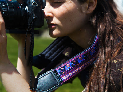 Personalized Camera strap for most camera straps. Ethnic classic designer camera strap Purple design with lucky elephants Great gift for photographer by InTePro