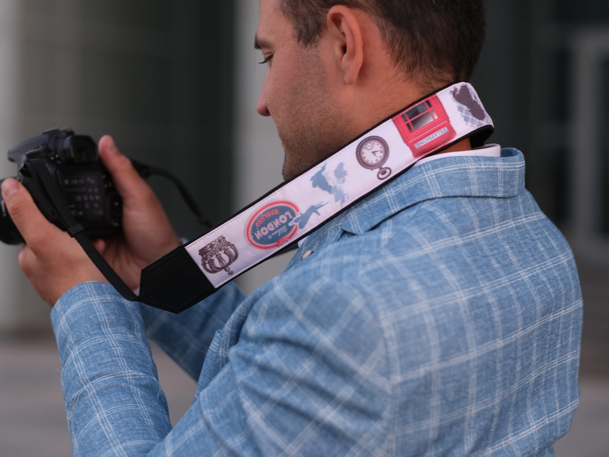 Personalized camera strap with the British flag, Big Ben, Queen's Crown.