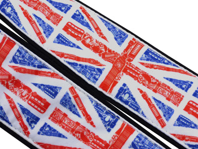 Personalized camera strap for photographers and travelers with Great Britain flags.