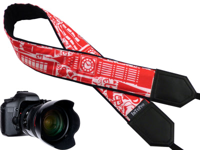 Personalized camera strap for tourists with London and UK symbols.