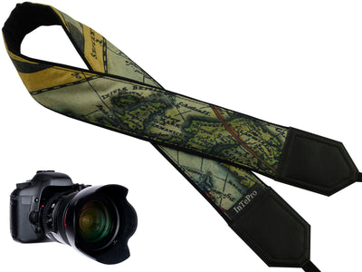 Personalized camera strap with Vintage Great Britain map design