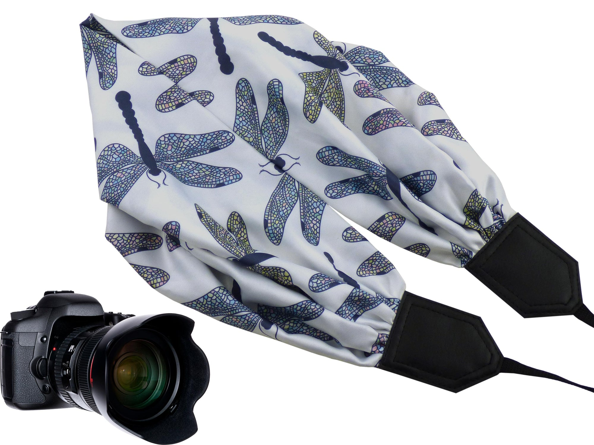 Scarf camera strap with dragonflies by InTePro