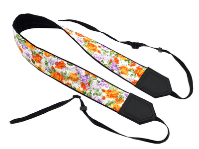 Flowers Camera strap. Orange roses camera strap. DSLR / SLR Camera Strap. Camera accessories by InTePro