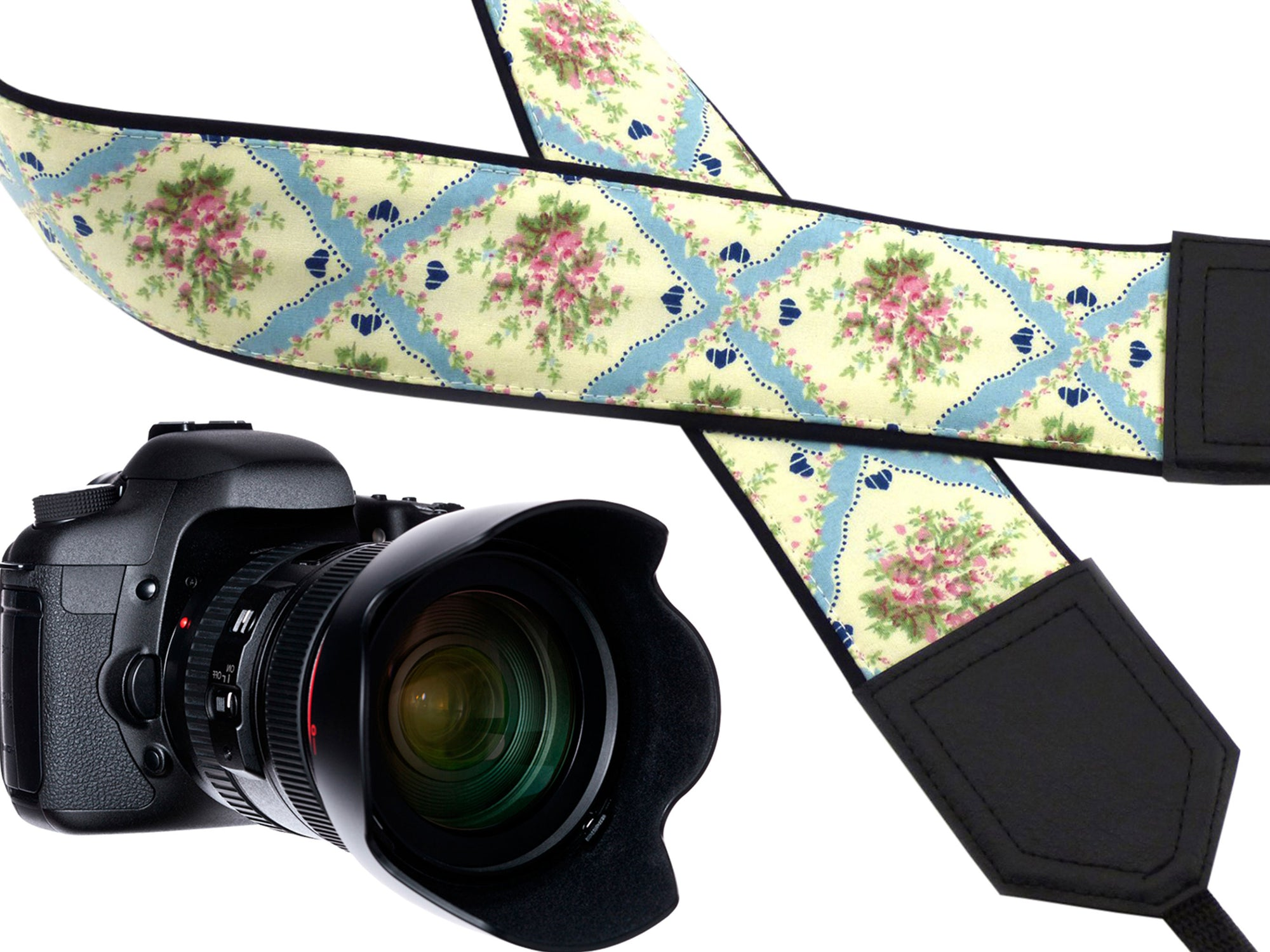 Tracery design camera strap. Elegant Vintage Flowers Camera strap. floral design camera strap. DSLR / SLR Camera Strap. Camera accessories by InTePro
