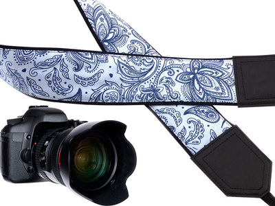Camera strap blue and white. Ornaments. Abstract flowers. Paisley. Crossbody strap DSLR / SLR.
