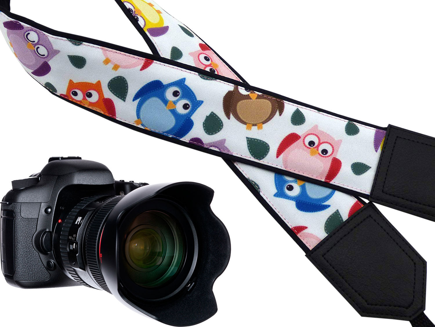 InTePro camera strap with owls design for mirrorless cameras. Birds camera strap. Black DSLR / SLR Camera Strap with personalization.