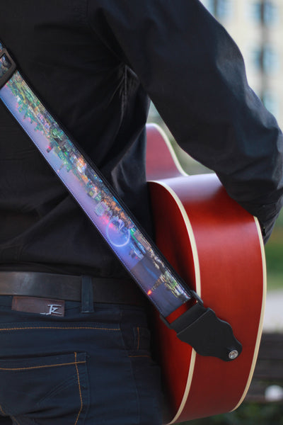 London City Guitar strap. London Skyline Photography. Guitar strap with city night view for acoustic, bass, solo guitars