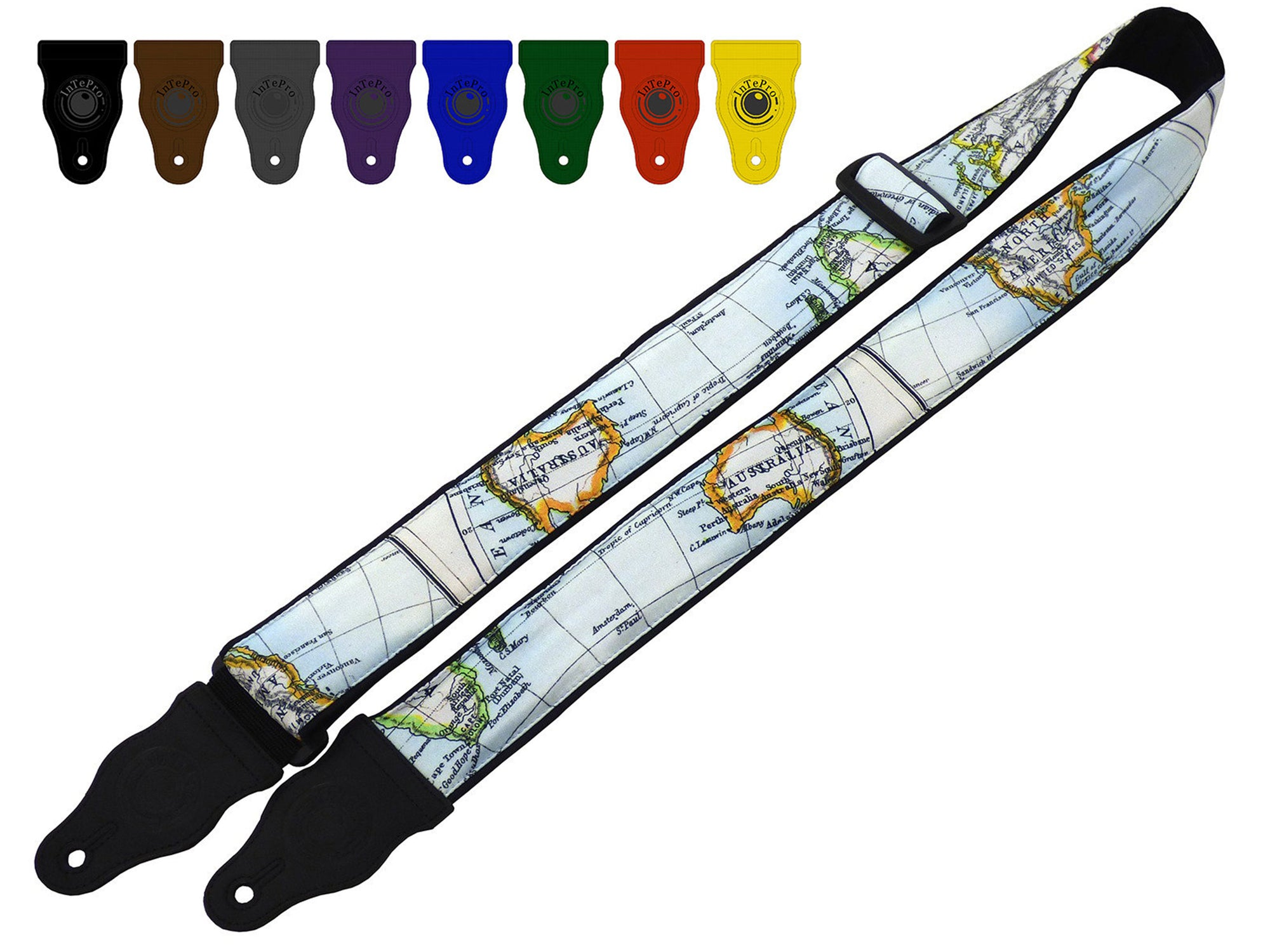 Guitar strap with world map design for electric, acoustic, bass and other guitars by InTePro