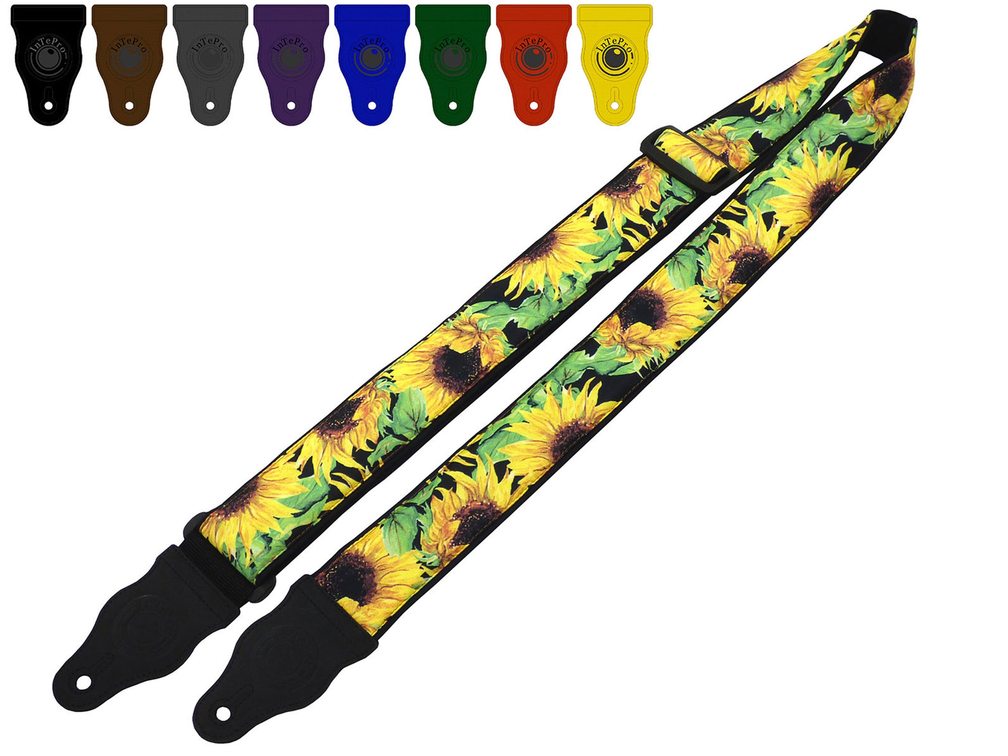 Guitar strap with sunflowers design for electric, acoustic, bass and other guitars by InTePro.