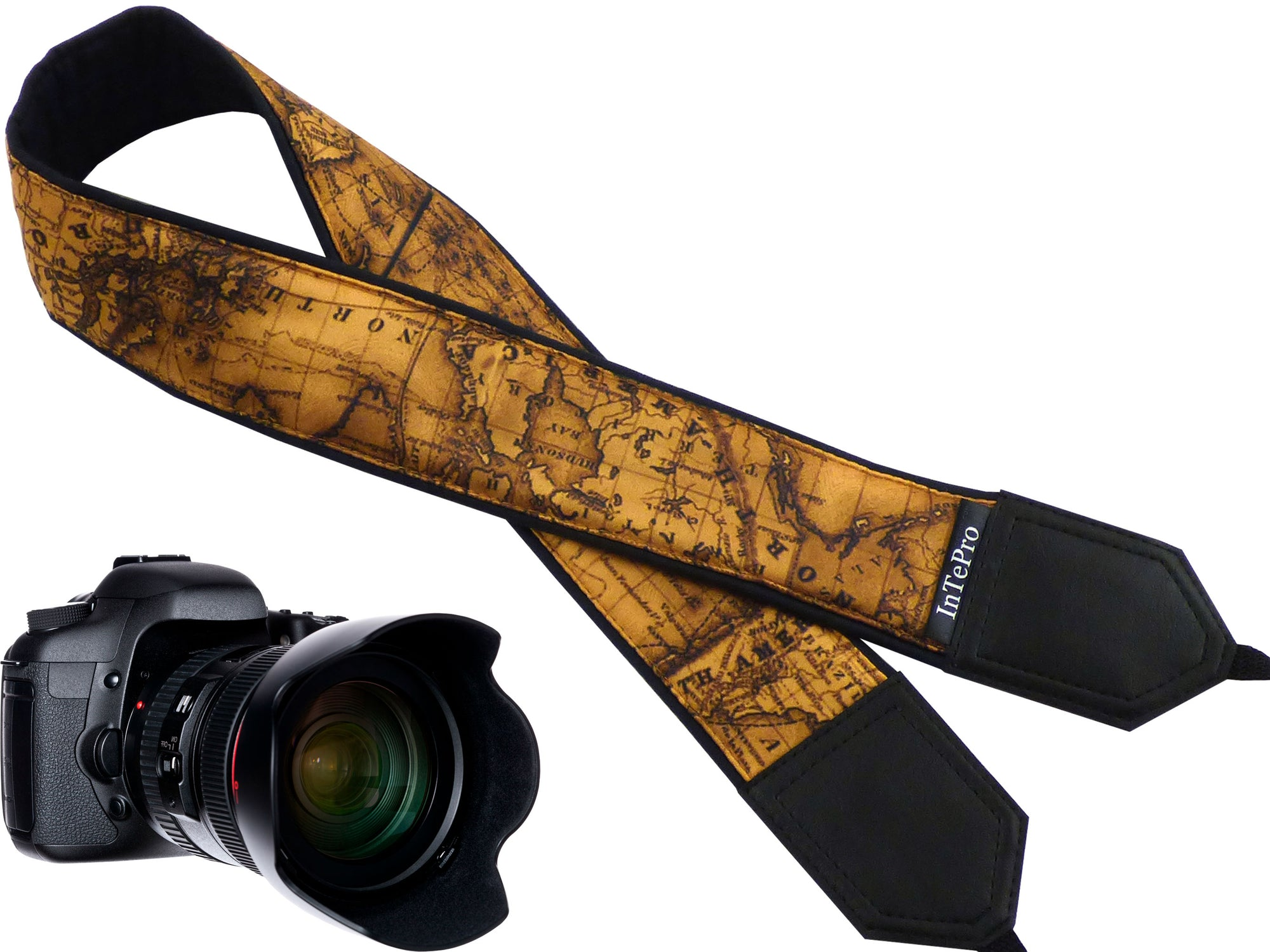 Vintage World map camera strap.