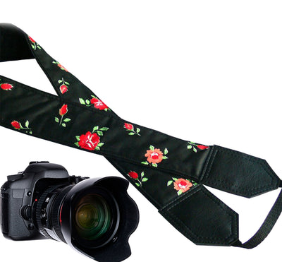 Red little roses camera strap