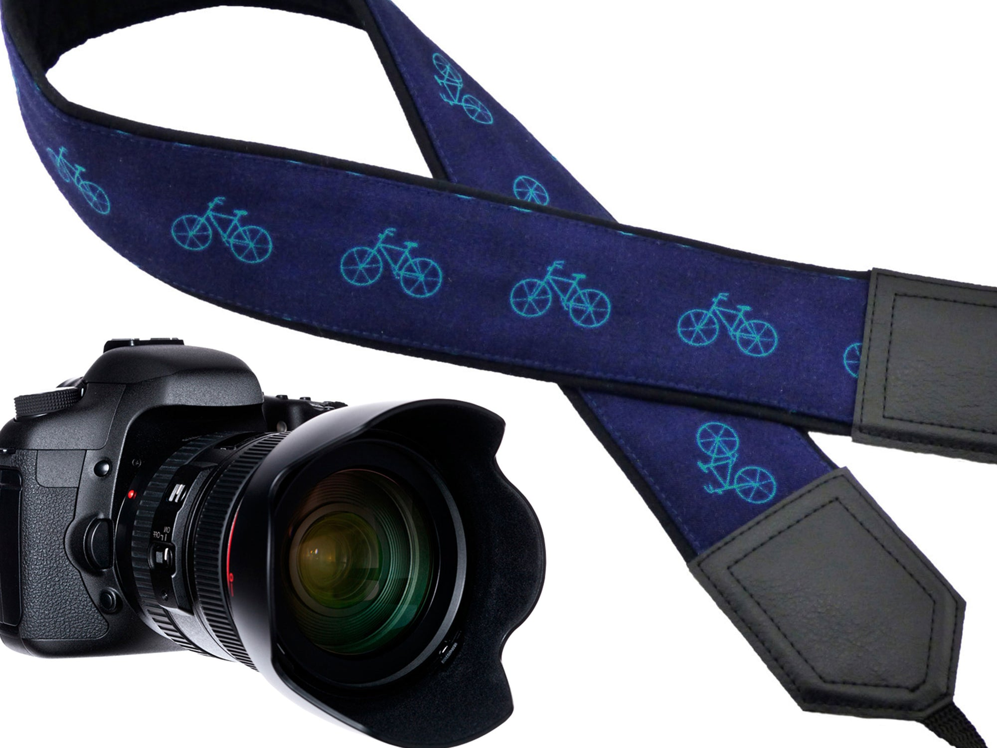 Personalized camera strap with bicycles Soft and well padded camera strap Unique skin friendly Camera accessory for Photographer