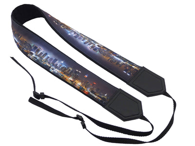 City night view camera strap. Skyline camera strap. DSLR / SLR Camera Strap. Gift For Photographer. Fashion accessories for trvelers.