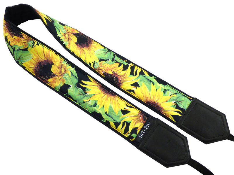 Personalized camera strap with sunflowers. Photo accessory by InTePro.