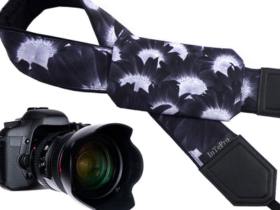 Dark Sunflowers Camera Strap. Black flowers camera strap for DSLR / SLR Cameras. Photo Camera accessories by InTePro