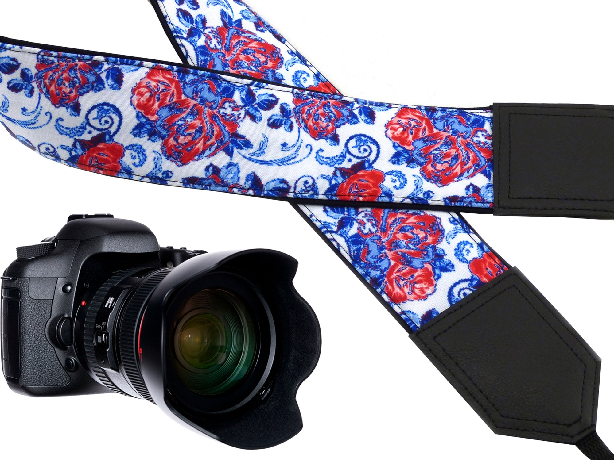 Flowers camera strap. Blue and red roses strap. DSLR / SLR Camera Strap. Handmade items.
