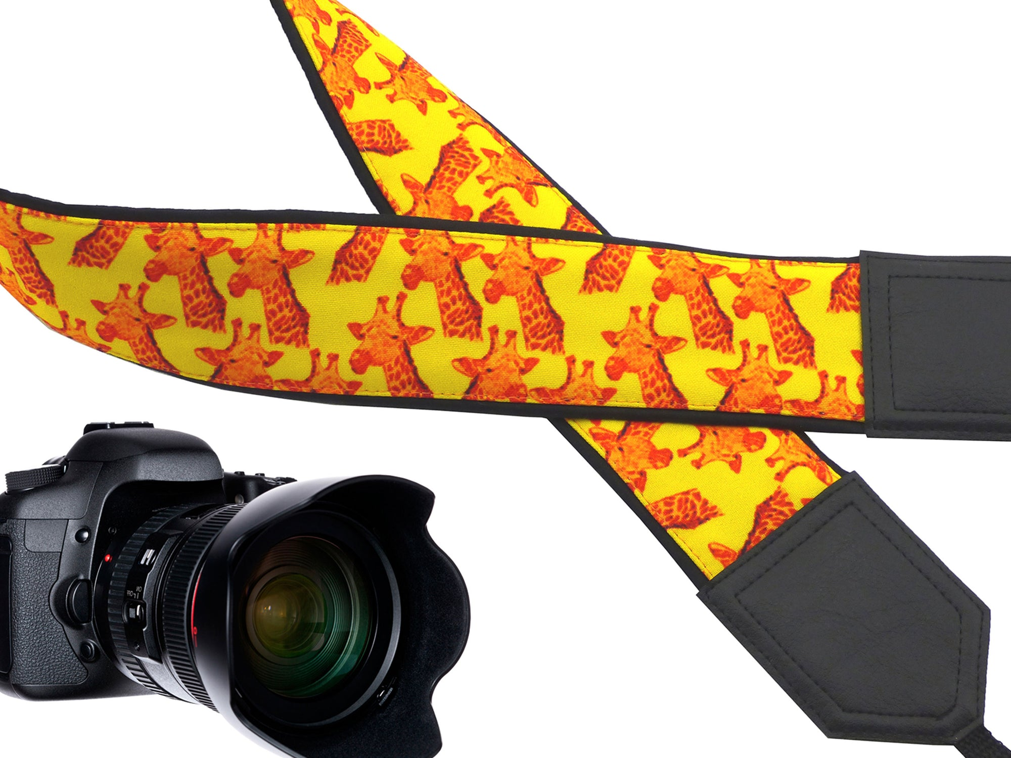 Camera strap with giraffe design. Bright yellow & orange camera strap. DSLR / SLR. Padded camera strap. Personalized camera strap by InTePro