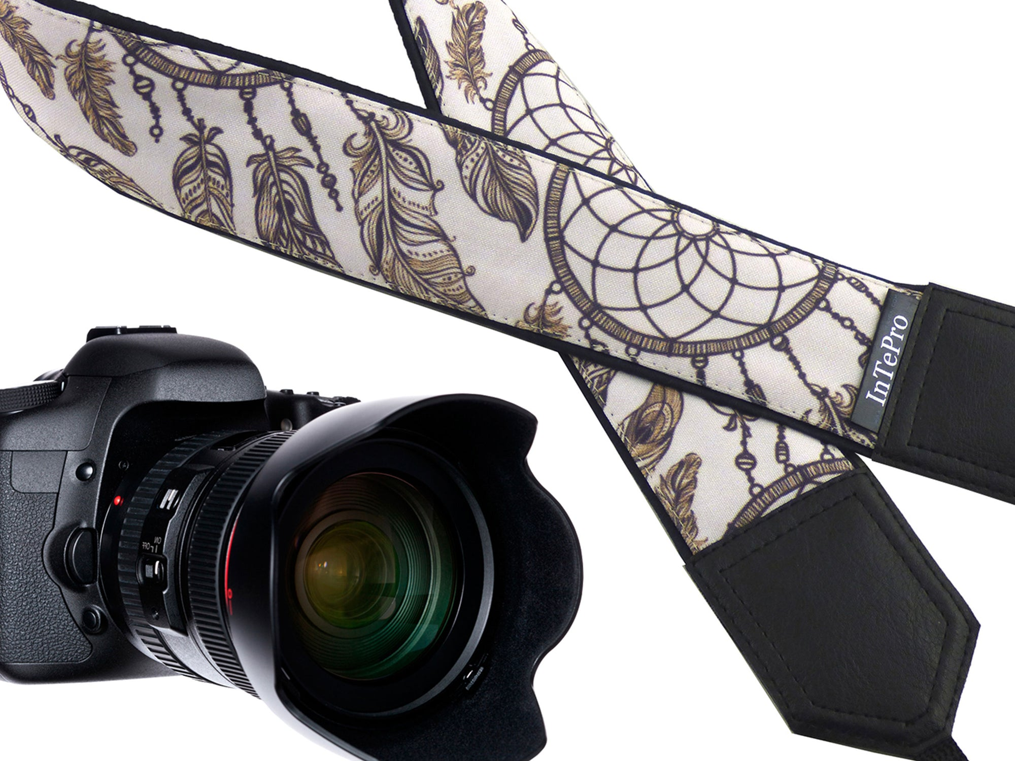 Dreamcatcher camera strap. Best camera accessory by InTePro. Comfortable and secure strap with many designs. Unique gift idea.