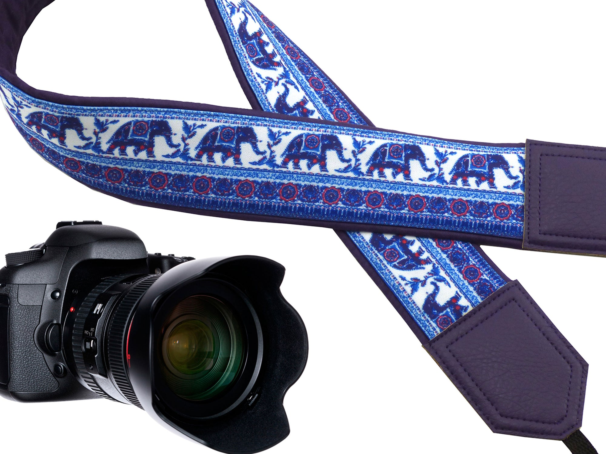 DSLR Camera strap by InTePro Ethnic classic designer camera strap Purple and blue design with lucky elephants Great gift for photographer.