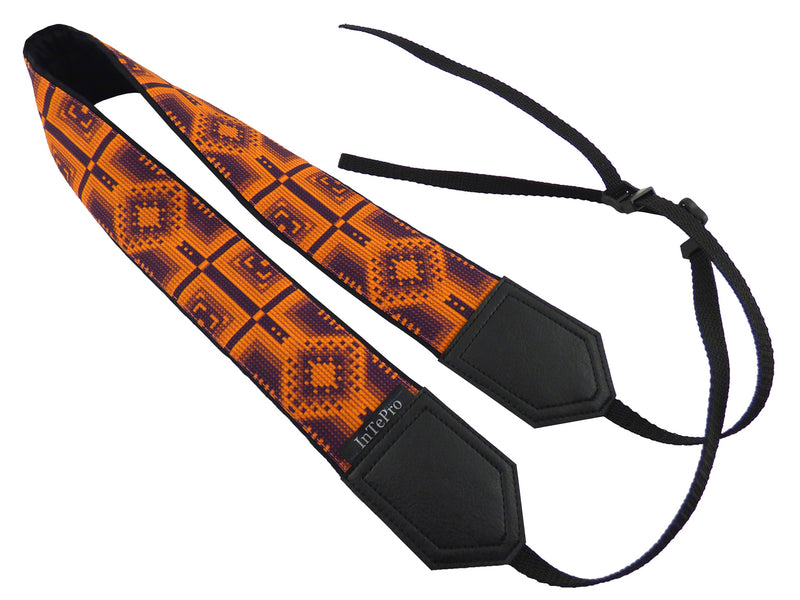 Camera strap with orange ethnic pattern. Personalized Camera Strap. Camera accessories.
