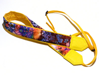 Floral camera strap. DSLR Camera Strap. Camera accessories. Yellow, colorful and bright camera strap.