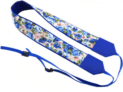 Camera strap Flowers. Blue and pink roses DSLR / SLR Camera Strap. Camera accessories. Durable, light and padded camera strap from InTePro