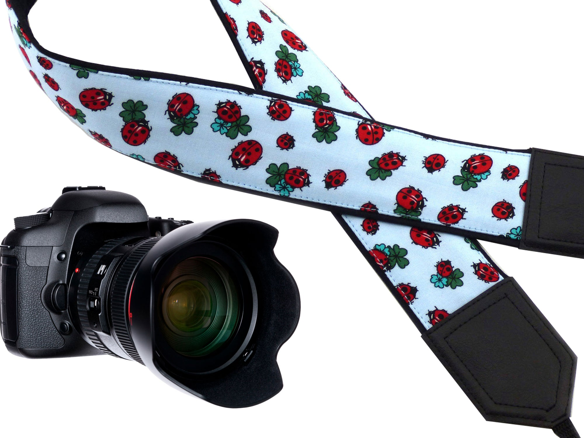 Ladybird camera strap with four leaf clovers. Light weight DSLR Camera Strap. Camera accessories by InTePro