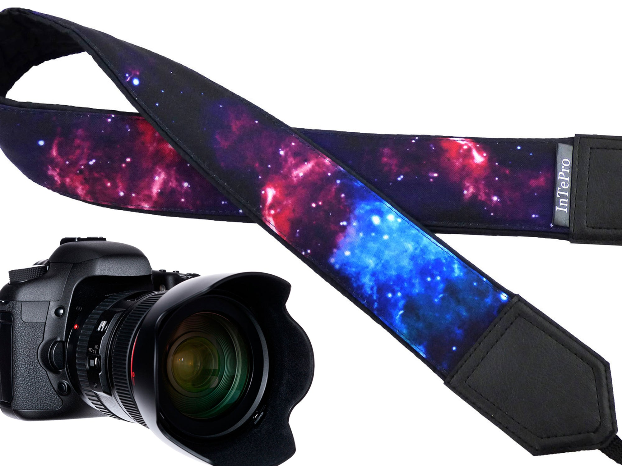 Personalized camera strap with galaxy design. Space camera strap suitable for all mirror and mirroless cameras.