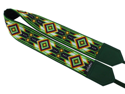 DSLR camera strap with green native design. Gift idea for photographer and traveler. America native motives