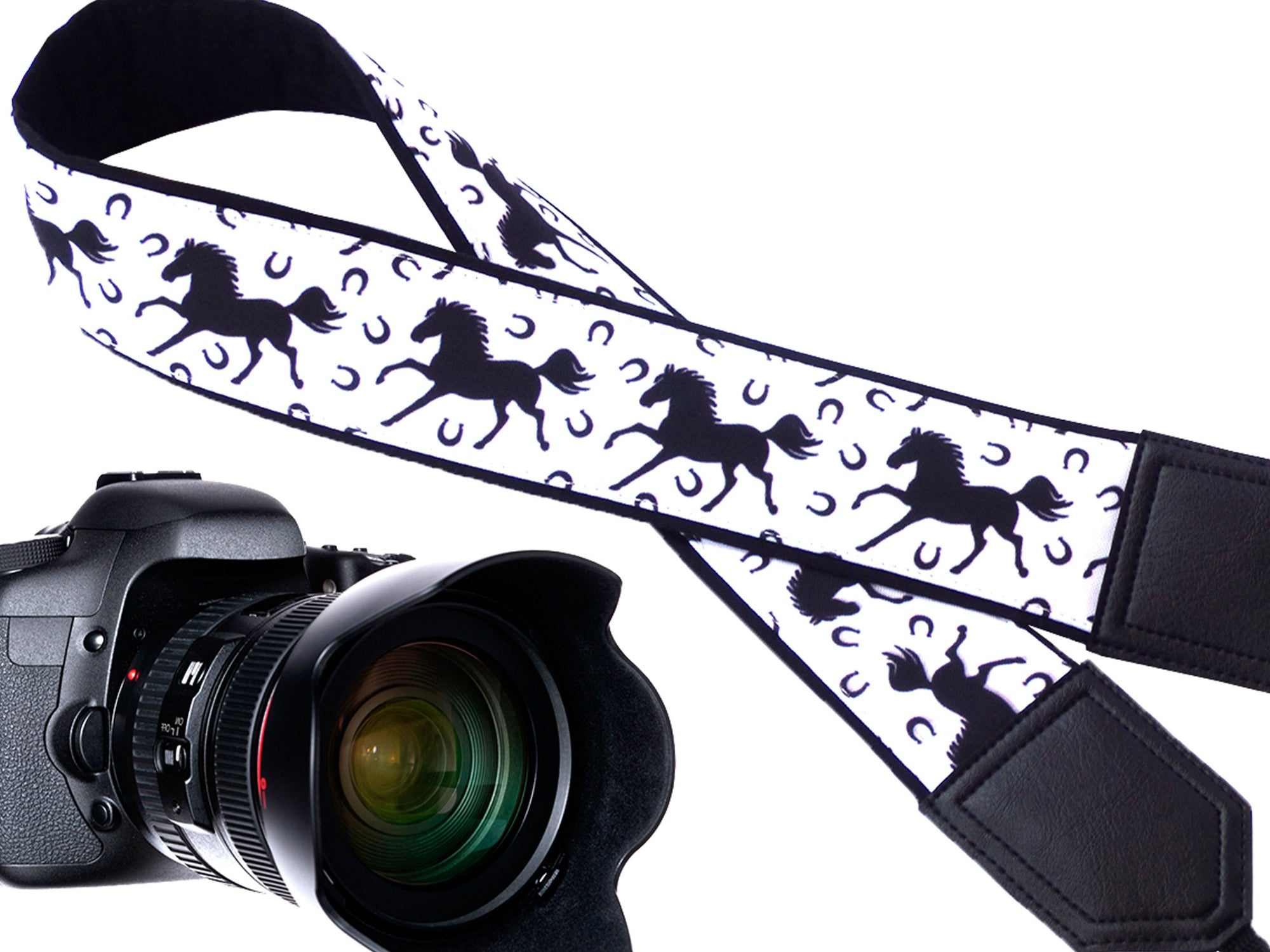 Black Horses Camera Strap, Black And White Camera Strap. DSLR mirrorless Camera Strap, Camera Accessories for travelers and photographers.