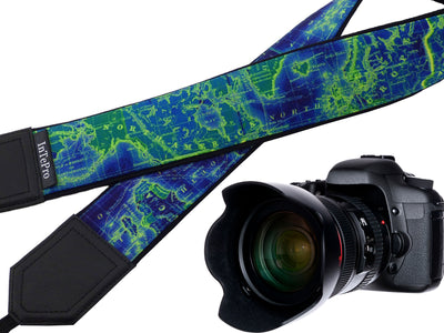 North America, Europe, Australia, South America map camera strap. Dark blue, lime. World map camera strap. Bright gifts for travelers!