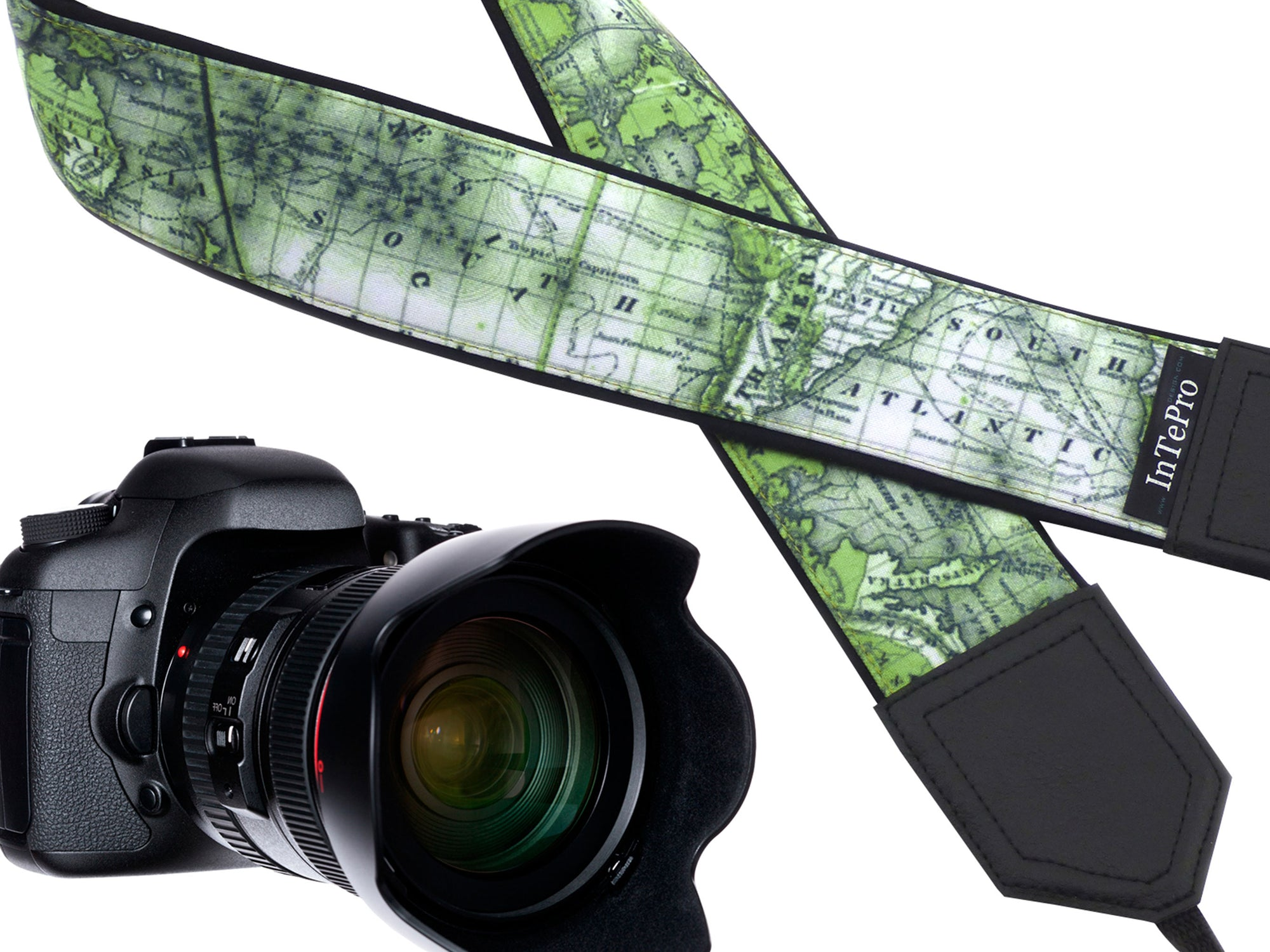 Go Green World Map Camera strap exclusively designed with premium quality material for all professional cameras and other standard cameras.