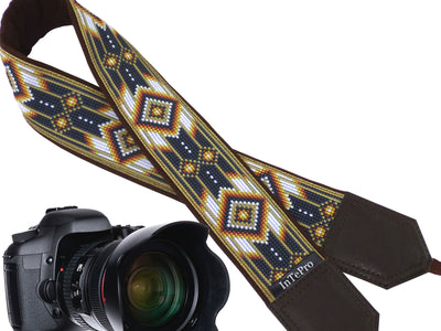 Personalized camera strap with beige native design. Gift idea for photographer and traveler. American Native motives