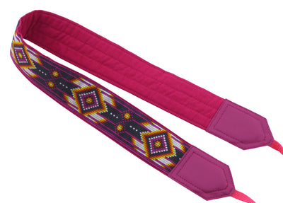 Personalized camera strap with native design. Purple / pink camera strap for most DSLR and SLR cameras. Photo accessory by InTePro.