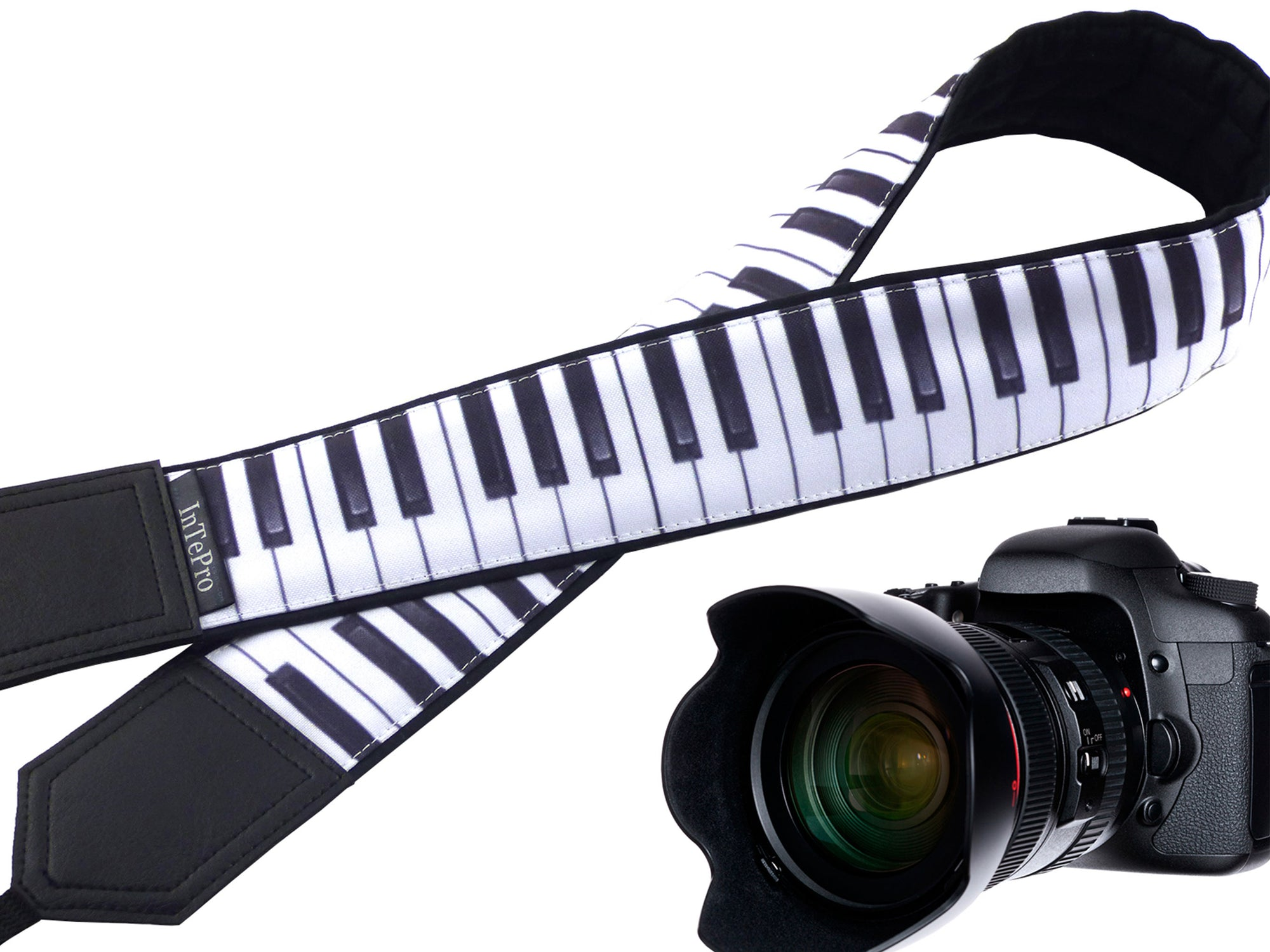 Personalized camera strap with embroidery. Camera strap DSLR with piano keys. Gift for musician. Black and white music keyboard design.