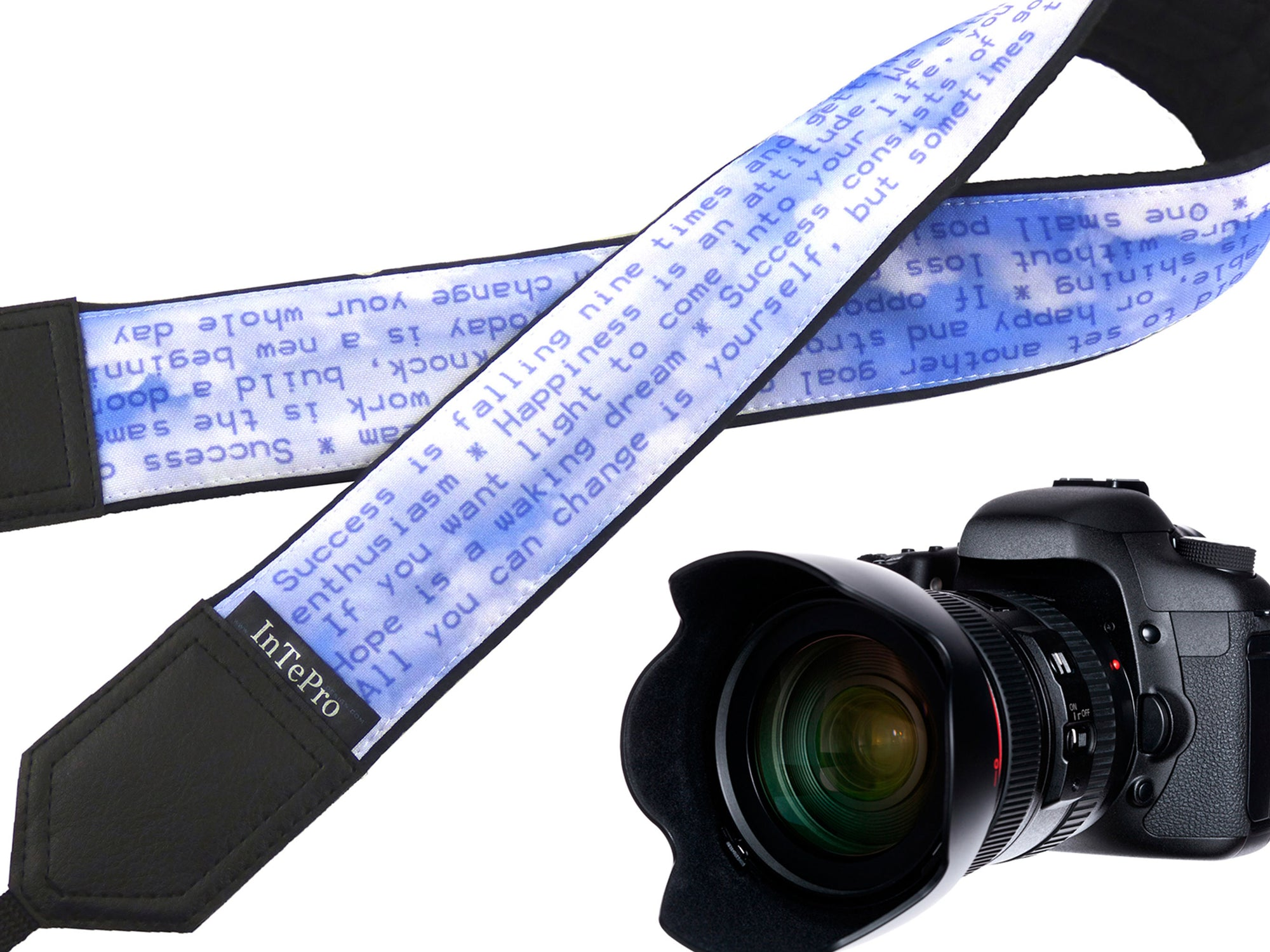 Camera strap with Positive thoughts. DSLR / SLR accessories. Canon Nikon Durable, light and padded camera strap with personalization.
