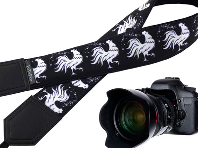 White Rooster Camera Strap. Stylized Cocks. Padded Camera Strap. Black and White. Camera Accessory.