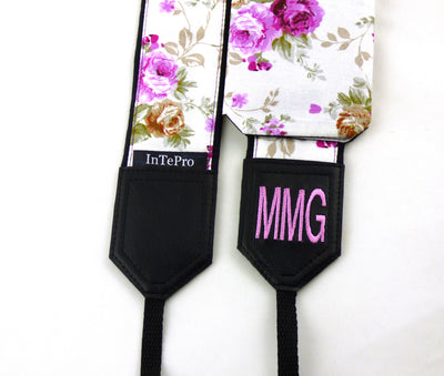 Flowers Camera strap.  Roses camera strap. Pink roses. DSLR / SLR Camera Strap. Camera accessories.