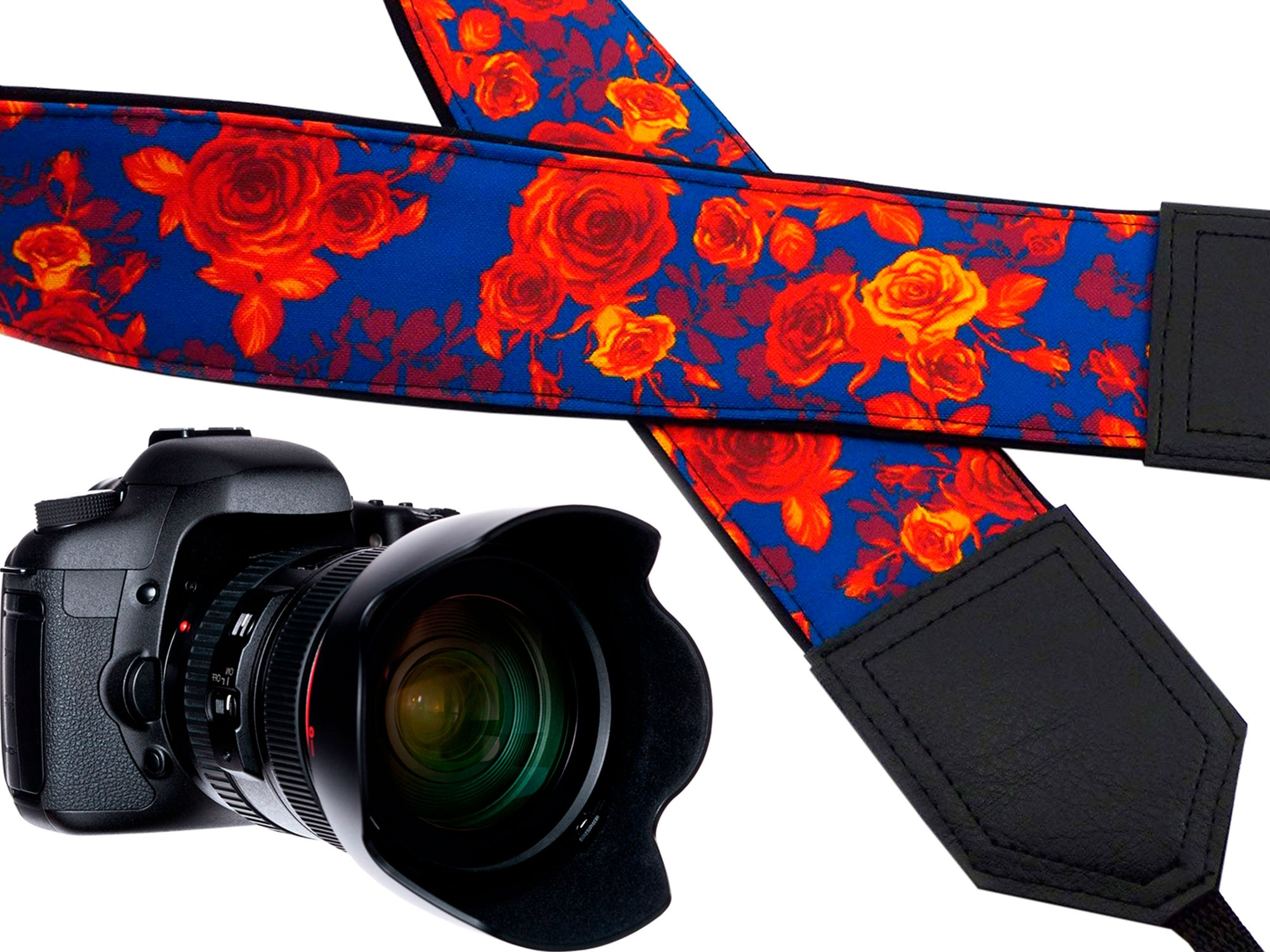 Camera strap Roses. Blue and orange.  Flowers strap. DSLR Camera Strap. SLR camera neck strap. Handmade item.