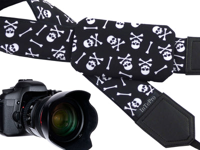 Skulls camera strap with pocket and embroidery option. Black & white DSLR and SLR camera strap. Unique Halloween gifts